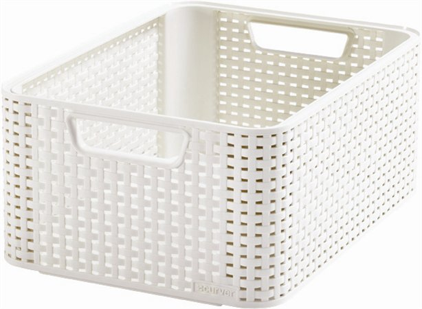 Odkladací box, s efektom rattanu, 18l, biely