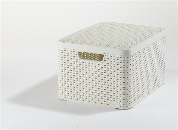 Odkladací box, s efektom rattanu, 30l, biely, s vekom