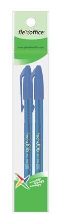 "Guľôčkové pero, 0,4 mm, 2 ks/blister,s uzáverom, FLEXOFFICE ""TechJob"", modré"